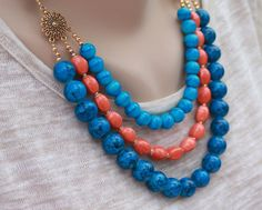 Summer blue necklace, girlfriend gift by JewelryByLoriStave on Etsy