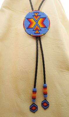 Men's beaded bolo tie by AuthenticNativeMade on Etsy, $98.00