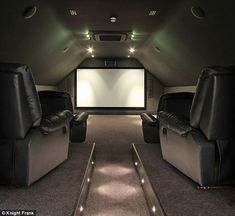 New husband, new start: Katie Price eyes nine-bedroom mansion in husband Kieran Hayler's home county Hampshire Media room pedestal for couch to sit up on maybe with small LED lights or rope lights – Heimkino Systemdienste Attic Theater, Movie Theater Rooms, Home Cinema Room, Cinema Room Small, Movie Rooms, Attic Media Room, Attic Rooms, Attic Spaces, Attic Game Room
