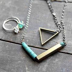 Turquoise & brass tube necklace..