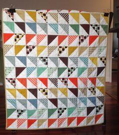 Modern patchwork triangle quilt orange brown mustard green white quilt  boy baby toddler crib quilt blanket