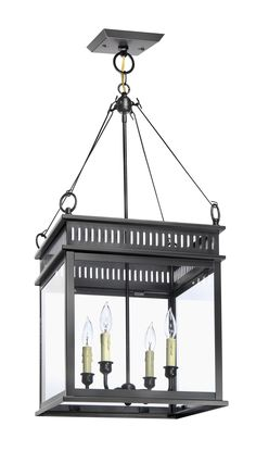This hanging interior lantern offers a classic silhouette in traditional metals. The interior light is available in a copper lantern, black lantern, and bronze lantern, which is a perfect addition to any kitchen or foyer entry.