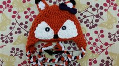 Adorable crocheted fox hat
