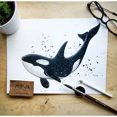 "Deep sea baby. <span class=""emoji emoji26aa""></span><span class=""emoji emoji2665""></span><span class=""emoji emoji26aa""></span> Original for sale. #illustration #orca #watercolor #whale #ocean #waves ..."
