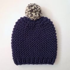 Chunky pom pom beanie hat with multi pom pom - hand knitted - merino wool