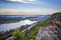 View of Winona, Minnesota, from Garvin Heights overlook. Winona MN viewed from above. Mississippi River Valley.