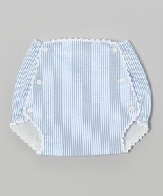 Scalloped trim adds classic charm to this diaper cover, while elastic openings help it stay put through a little one's wiggles, wriggles and romps. Made in timeless seersucker cotton and fully lined, it features three easy-open buttons down each side for fuss-free changing.