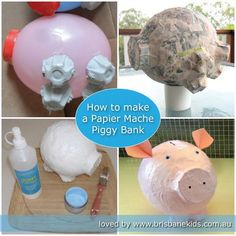 How to make a papier mache piggy bank at home from recycled materials. How to make a papier mache piggy bank at home from recycled materials. The post How to make a papier mache piggy bank at home from recycled materials. appeared first on Paper ideas. Paper Mache Crafts For Kids, Paper Mache Projects, Kids Crafts, Paper Crafts, Projects For Kids, Diy For Kids, Craft Projects, Brisbane Kids, Paper Mache Animals