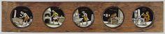 Anonymous | Vijf beroepen, Anonymous, c. 1700 - c. 1790 | Vijf glaasjes met uitbeeldingen van beroepen in een houten vatting. Het uitgebeelde beroep wordt ook steeds op het glas vermeld. Uiterst links: 'plaat drucker', met handen en voeten een plaatpers aandraaiend. Rechts daarvan: 'plaat snijder', aan een tafel bij het raam met aan de muur enkele prenten. In het midden: 'glase maker', met een ruitje in zijn hand, voor hem een groot raam plat liggend op een tafel. Rechts daarvan: 'pastaij is…