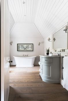 by Neptune Home - that bath tub is amazing. A few candles and this bathroom… Attic Bathroom, Family Bathroom, Budget Bathroom, Small Bathroom, Master Bathroom, Bathroom Ideas, Neptune Bathroom, Modern Bathroom, Bathroom Marble