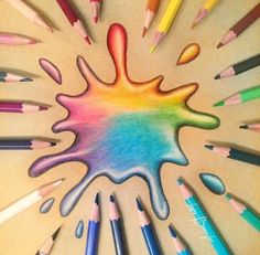 Colorful splash of water drawing. 3d Pencil Drawings, Cool Art Drawings, Realistic Drawings, Colorful Drawings, Easy Drawings, Shading Drawing, Water Drawing, Chalk Pencil, Color Pencil Art