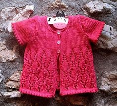 Baby Girl lace Cardigan Knitting Pattern- Instant Download PDF  - Newborn - 5 yrs - all with 2 sleeve options - long and short sleeves