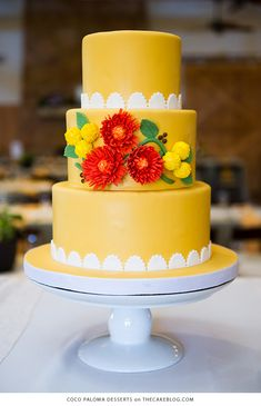 10 Yellow Wedding Cakes | including this design by Coco Paloma Desserts | on TheCakeBlog.com