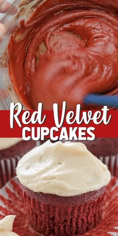 This easy Red Velvet Cupcakes recipe is topped with cream cheese frosting. This classic recipe is always good to have in your recipe box! Its an easy cupcake recipe thats moist and tender and perfect with cream cheese frosting. Moist Cupcake Recipes, Moist Cupcakes, Dessert Recipes, Gourmet Cupcakes, Easy Red Velvet Cupcakes, Eggless Red Velvet Cake, Red Velvet Frosting, Duncan Hines, Red Velvet Receta