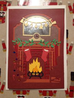 X cuts build a scene Fire place Christmas card