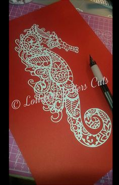 Paisley Seahorse DIY Paper Cutting Template by LollipopLettersCuts Paper Cutting Templates, Paper Lampshade, Sea Crafts, Gifts For An Artist, Paper Animals, Paper Birds, Fine Paper, Kirigami, Paper Design