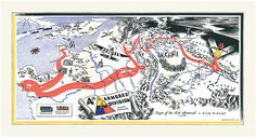 Vintage campaign map, battle operations route chart and timeline of US 4th Armored Division during World War II.