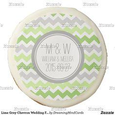 Lime Grey Chevron Wedding Favor Cookie