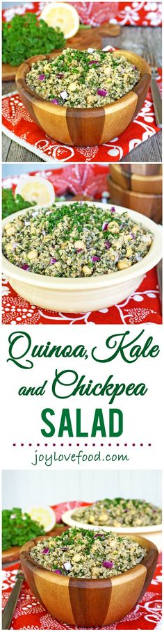 Quinoa, Kale and Chickpea Salad - a delicious, protein-packed salad that is great for a healthy lunch, vegetarian main meal or side dish.