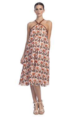 Thakoon Flower Embroidered A-Line Halter Dress at Moda Operandi