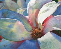 Tulip Magnolia Art Watercolor painting print by Cathy Hillegas, Singing The Blues, 16x20, white, blue, yellow, pink, orange