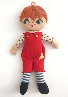 "Vintage Rag Doll 1940s 1950s Orange Yarn Hair 14"" Plush Red Overalls  | eBay"