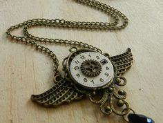 Steampunk Inspired Winged Clockwork Necklace