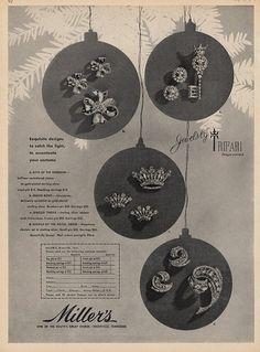 1946 - TRIFARI - ADS - Miller's, one of the south's great stores, Knoxville, Tennessee - Exquisite designs to catch the light, to accentuate your costume. a) keys of the ......... b) queen bows c) jeweled ...... d) .....