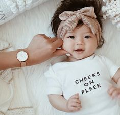 Cutest baby with big cheeks baby girl clothes newborn headband beautiful love onesie bows