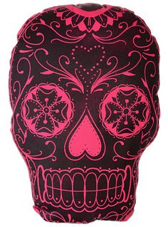 Sangria Sugar Skull Throw Pillow by The Rise and Fall, Home Decor, Pink