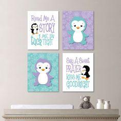 Baby Girl Nursery Art - Penguin Nursery Art - Penguin Nursery Decor - Penguin bedroom Art - Read Me a Story - Teal Lavender - Babykamer. Baby Bedroom, Bedroom Art, Nursery Room, Rose Bedroom, Dream Bedroom, Nursery Themes, Nursery Decor, Nursery Ideas, Room Ideas