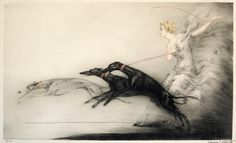 Louis Icart- Speed  Glamorous blonde with greyhounds