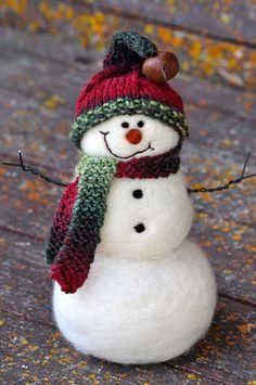 Snowmen - Wool Needle Felted Snowman - Christmas - 124