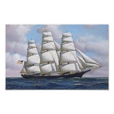 Sailing Ship Vintage Poster - tap/click to get yours right now! #boat #sailboat #sail #ship #sailing Custom Posters, Vintage Posters, Vintage Art, Art Posters, Vintage Stuff, Wilderness Tattoo, Iris Art, Old Sailing Ships, Ship Paintings