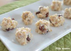 Porridge and Raisin Balls. Wonder if I could substitute raisins for different fruit, apple yum!