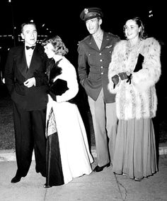"Jimmy Stewart with actress Kay Aldridge and Margaret Sullavan with her husband Leland Hayward arrive for the premiere of ""Mrs. Miniver"""