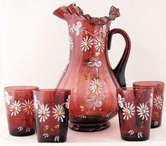 Victorian Lemonade 5-Piece Set Amethyst Glass Hand Painted Flowers      From Ruby Lane shop Antik Avenue