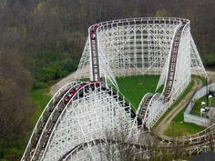 Racer (onride) - Kings Island, Cincinnati, OH. Top 10 Roller Coasters, Roller Coaster Ride, Summer Memories, Sweet Memories, Cincinnati Restaurants, Camden Park, Riders On The Storm, Kings Island, Amusement Park Rides