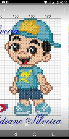 Boneco do Luccas Neto em ponto cruz Knitting Charts, Baby Knitting Patterns, Knitting Designs, Baby Patterns, Boy Quilts, Plastic Canvas Patterns, Toy Store, Betty Boop, Cross Stitching