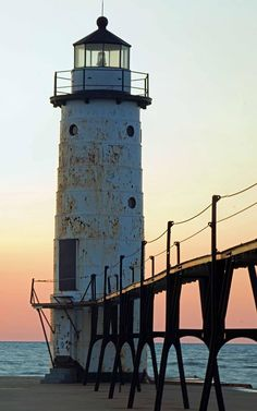 Manistee Michigan Lighthouse and Pier.