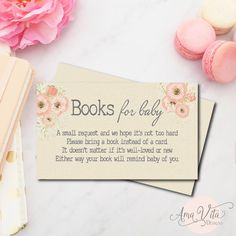 Books Instead of Cards | Build a Library Invite | Books for Baby | Printable Invitation Insert | INSTANT DOWNLOAD | Pink Baby Shower flowers