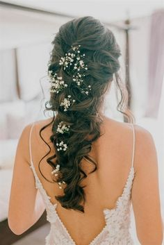Bridal Hair Braid With Gypsophila - Godwick Hall Wedding With Bride In Anna Georgina Bridesmaids In Green Sequinned Dresses Images From Sarah Jane Ethan Photography #WeddingHairstyles