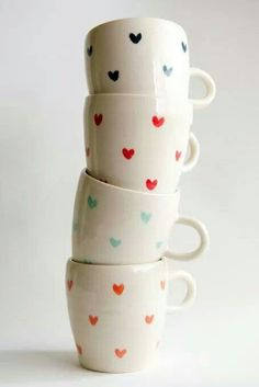 To bad Jeff's cut me off from more mugs.) We will need another apartment just for my mugs! Sweetheart handmade heart print mugs Cute Coffee Mugs, Coffee Mug Sets, Cute Mugs, Mugs Set, Coffee Cups, Pretty Mugs, Coffee Heart, Sharpie Crafts, Sharpie Art