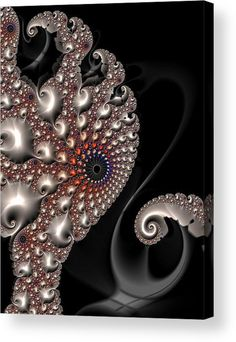 Octopus Contact Acrylic Print for sale. Beautiful colored abstract fractal art. Amazing spirals and swirls in silver, gold, copper, brown, orange, red, blue and black, looks like precious jewelery. The image gets printed directly onto the back of a sheet of clear acrylic. The image is the art - it doesn't get any cleaner than that! Matthias Hauser - Art for your Home Decor and Interior Design.