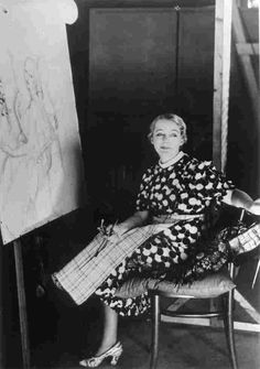Portrait of Gerda Wegener in painting the Alice O'Frederiks director at Palladium Studios in Copenhagen.