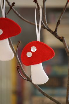 SALE  Felt Mushroom Ornaments  set of 3 by GeorgeNRuby on Etsy, $6.00