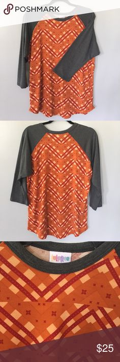 Lularoe orange and grey baseball tee NWOT. On trend. Easy to throw on with jeans or shorts and roll! LuLaRoe Tops Tees - Long Sleeve