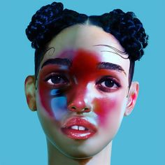 lp1 by FKA twigs, blue background and girl with red spots on face
