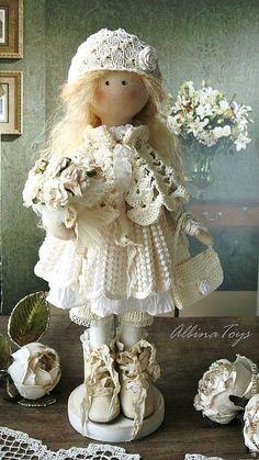 Текстильная кукла ангел Анет. - бежевый,кружево,кружевной,кукла ручной работы ♡