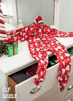 New Christmas PJ's! Elf On The Shelf Ideas: Explore Ideas for Scout Elves at Christmas All Things Christmas, Christmas Holidays, Christmas Games, Christmas Pajamas, Happy Holidays, Merry Christmas, To Do App, Elf Pajamas, Pyjamas